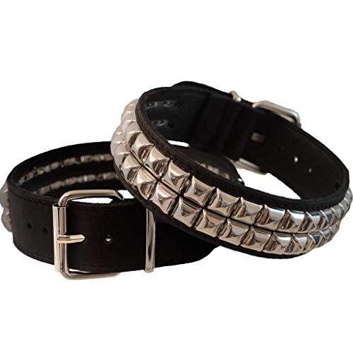 Unbekannt 1 Paar Stiefelbänder aus Leder mit 2 Reihen Pyramidennieten (Made in Italy) (schwarz)