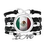 メキシコ国旗サッカーワールドカップ 愛のアクセサリーツイストレザーニットロープリストバンド編み