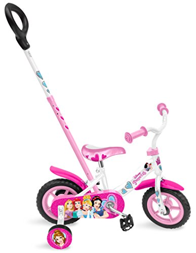 Stamp SAS Princess Bike 10' with Push Bar + Fix Wheels, Niñas, Pink, 2-3