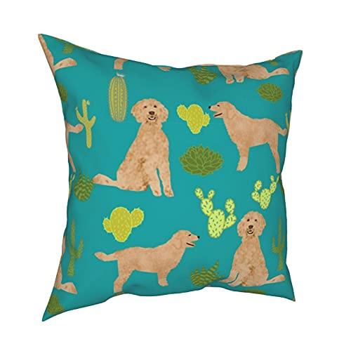 Fundas de almohada decorativas para perro, cactus, cactus, perro, doodle, perro, doodle, linda funda de cojín cuadrada para habitación, sofá, silla, coche, 50,8 x 50,8 cm