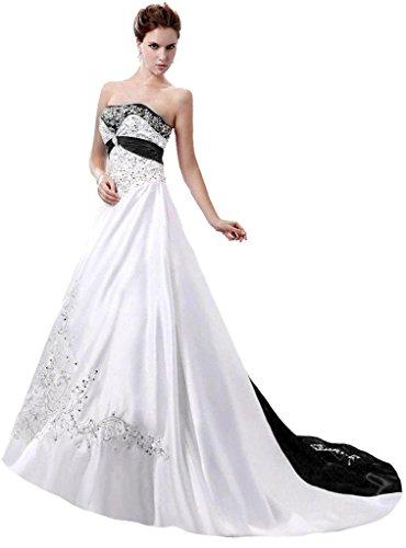Edaier Women's Court Train Satin Wedding Dress Bride Gown