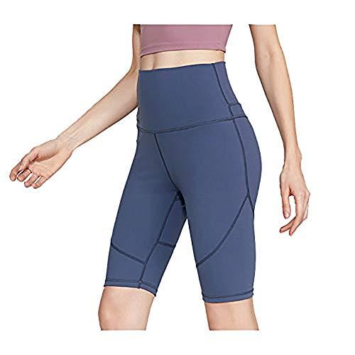 Sport Yoga Pants,'S Senza Saldatura Alte Donne della Vita di Allenamento Pancia Controllo Stretch Esecuzione Fuseaux, Non See-Through Fitness Elastic Shorts,Blu,L