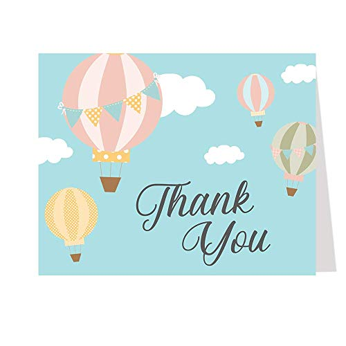 Hot Air Balloon Thank You Cards Baby Shower Birthday Adventure Awaits Begins Journey Up Up and Away Fly Pink Yellow Blue Polka Dots Pennants (50 Count)