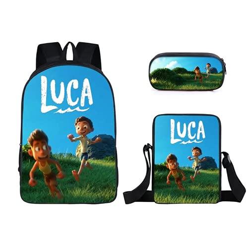 Luca - Mochilas con bolsa de almuerzo Luca para lápices, bolsa de escolar, 3 unidades, 1, luca 3pcs,