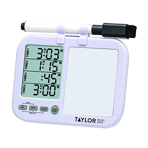 Taylor Precision Products (Regular) Taylor Four-Event Digital Timer with Whiteboard for School, Learning, Projects, and Kitchen Tasks, white