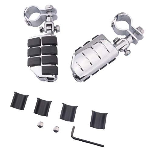 IPOTCH Soporte de Estribo de Aluminio Negro + Suelo de Estribo Plateado para/Yamaha/Kawasaki
