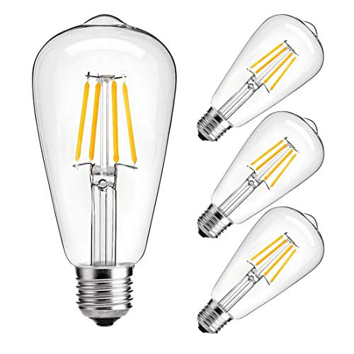 Dimmable led light bulb, 4w LED Edison Bulb, 40 Watt Incandescent Equivalent, 4W Vintage LED Filament Light Bulb, st64 led bulb,2700K-3000K Soft White ,e26 /e27 led bulb, Clear Glass Cover , 4 Pack
