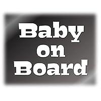 嫌がる犬のイラスト用文字 Baby on Board カッティングステッカー デカール (白, Baby)