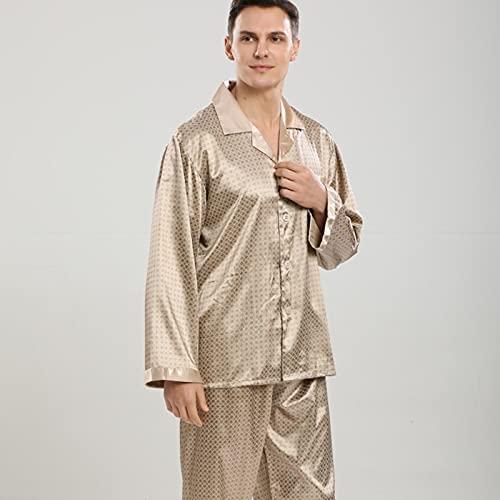 Conjunto De Pijama De Satén De Seda con Rejillas para Hombre, Ropa De Dormir, Camisón, Ropa De Dormir, Camisetas De Manga Larga, Pantalones, Pantalones,A,M