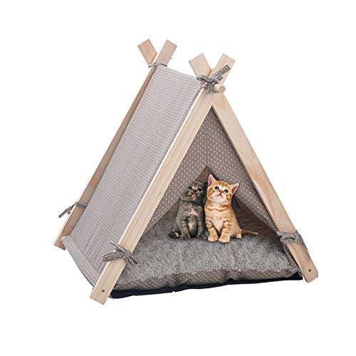 LuckerMore Pet Teepee Tent Dog & Cat Tent Bed Small Washable