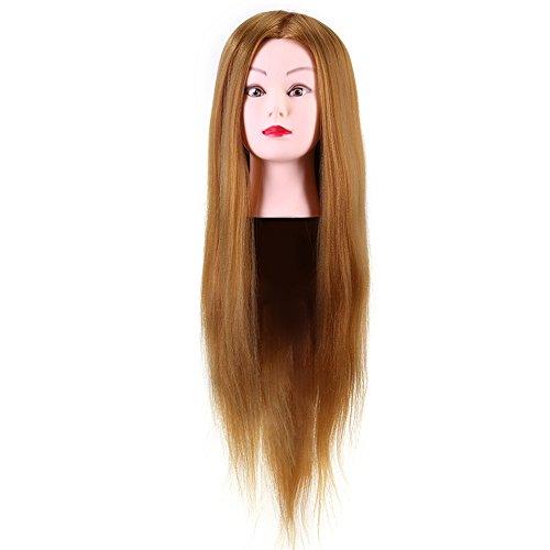 Tête d'exercice pour Coiffure Professionnel 40% Vrais Cheveux Humains Coiffeur Formation Tête Cosmétologie Pratique Mannequin Poupée Blonde