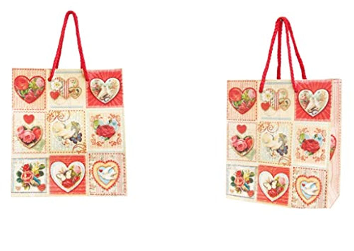 Punch Studio Vertical Glitter Embellished Gift Bags ~ Vintage Victorian Heart Squares 56028, Set of 2