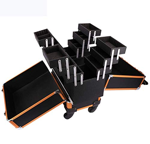 DDL Rolling Makeup Trolley Cosmetic Case Universal Wheel Double Open Multi-Layer Professional Suitcase Beauty Kit Black