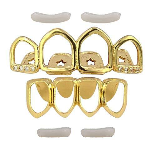 Glield Grill Oro Denti Hip-Hop Set Denti Hip Hop Superiore Inferiore + 2 Barre di Modellatura Extra YT05 (Gold)
