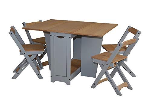 Ellingham Folding Drop Leaf Butterfly Dining Set 4 Chairs Pine & Grey