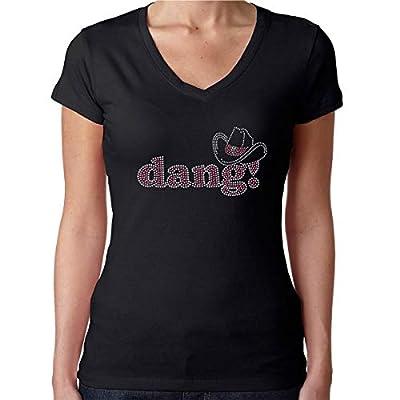 Womens T-Shirt Rhinestone Bling Black Tee Dang Cowgirl Hat South V-Neck Large