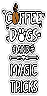 """Sticker Coffee Dogs and Magic Tricks Card Tricks 3""""×4"""" Decals for Laptop Window Car Bumper Helmet Water Bottle (3 PCs/Pack)"""