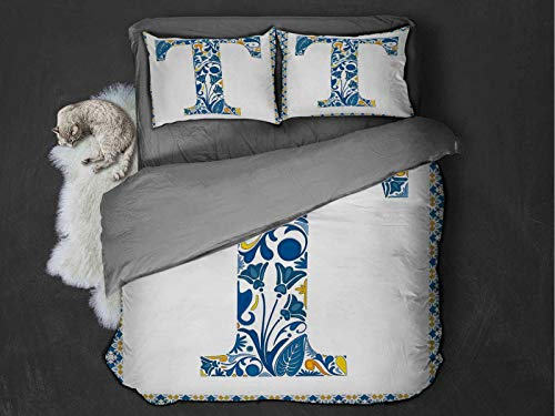 Letter T hotel luxury bed linen Ornate Retro Portuguese Art Flowery Borders and T Silhouette with Leaves polyester - soft and breathable (King) Blue Yellow Orange