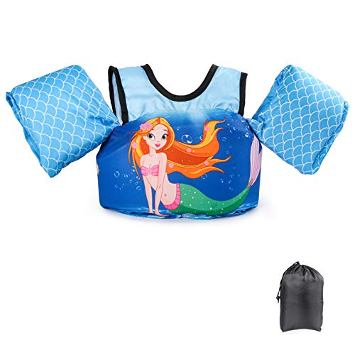 Schwimmflügel Schwimmweste mit Schultergurt für Kinder Kleinkinder von 2-7 Jahre 15-30kg Schwimmen Lernen Schwimmhilfe mit verschiedenen Designs für Jungen und Mädchen (Meerjungfrau)