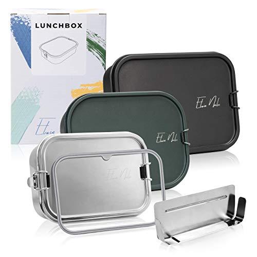 Elwin Neiles® ☀️ 100% auslaufsichere Edelstahl Brotdose [1400 ml] INKL. innovativer Dichtung & Trennwand - leicht öffnende Lunchbox für Kinder