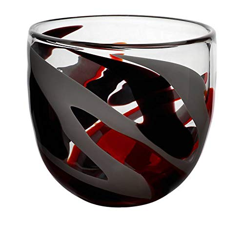 AMARA DESIGN Vase en Verre, Collection Flame, Rouge/Gris/Noir, 20 cm, Fait à Main Powered by Cristalica