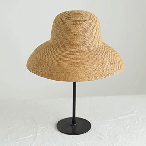 Serrale Sombreros de Sol Vintage para Mujer, Viajes Plegables, Vacaciones, Retro, Parte Superior Redonda, Sombreros con Visera de Paja Grandes para Mujer, Gorra de Playa-A