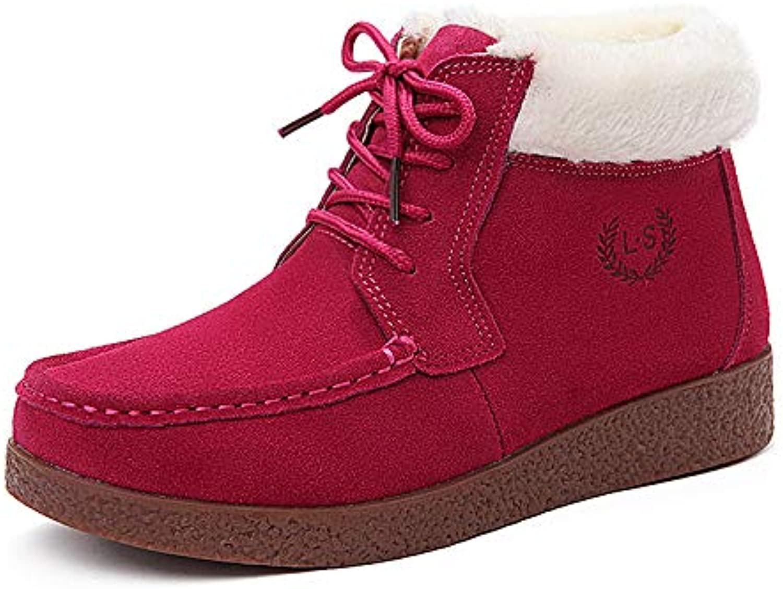 HOESCZS Frauen Schuhe Damen Leder Matt Leder Martin Martin Stiefel In Der Baumwolle Stiefel Warme Damen Schuhe Kurze Stiefel Baumwolle Schuhe  exklusiv