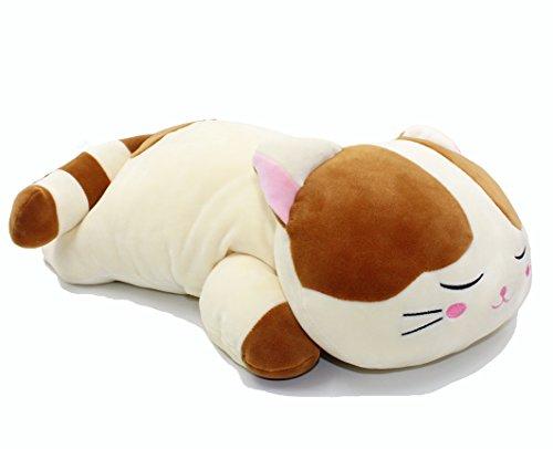 スーパソフト 猫 ネコ ニャンコ 眠る姿 抱き枕 クッション ぬいぐるみ ふわふわ ブラウン 60CM