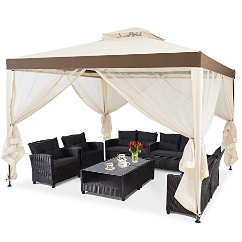 ZLRE 10x10FT Patio Canopy Gazebo with Double Tiered Roof, Outdoor Tent Shelter Garden Party Tent with Removable Mesh Side Walls Net for Patio Lawn or Deck