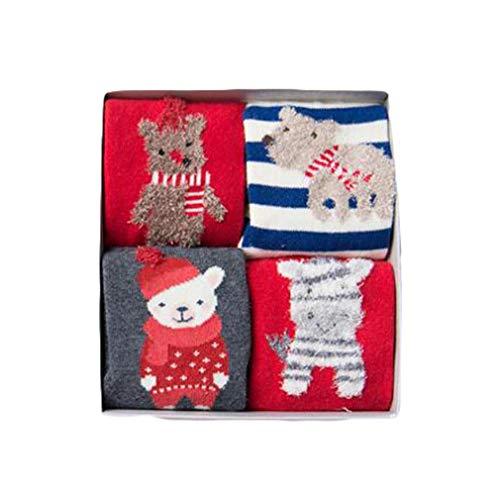 Hibote hibote 4 Paare/los Geschenkbox Kinder Mädchen Jungen Nette 3D Cartoon Tier Baumwolle Socken für Kinder Mode Weihnachten Socken