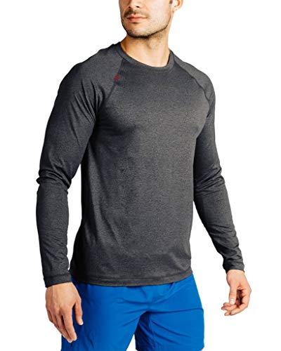 Rhone Men's Reign Long Sleeve Athletic Moisture Wicking Anti-Odor Workout Shirt (Black Heather, Large)