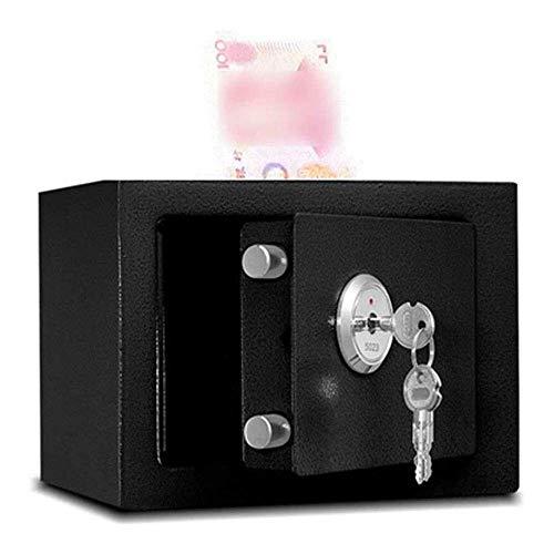 SENWEI Caja fuerte de seguridad para depósitos, microminimecánica, funciona con monedas, sello oficial antirrobo, seguro para ancianos, dimensiones externas: 17 x 23 x 17 cm (color: negro)