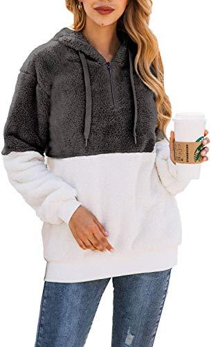 Bwiv Sudadera Mujer con Capucha Caliente Flexible Invierno Otoño en Piel Sintética Multi Color Chaqueta Polar Casual Moda Amplio Gris y Blanco Empalme Talla S