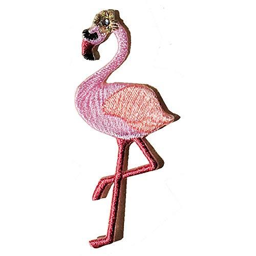 プアプア モアナップル(Pua Pua Moanapple) ハワイアン アップリケ ワッペン フラミンゴ スワロフスキー 動物 1枚 ゴールド L ピンク