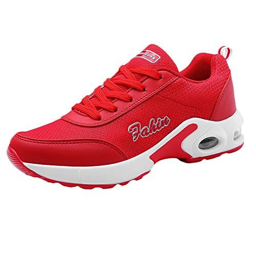 Honestyi Sneakers Basses Femme Coussin d'air Chaussures de Running Sport Shoe Maille à Lacets Baskets Respirant Elastique Chaussures de Course Outdoor Casual Sneakers