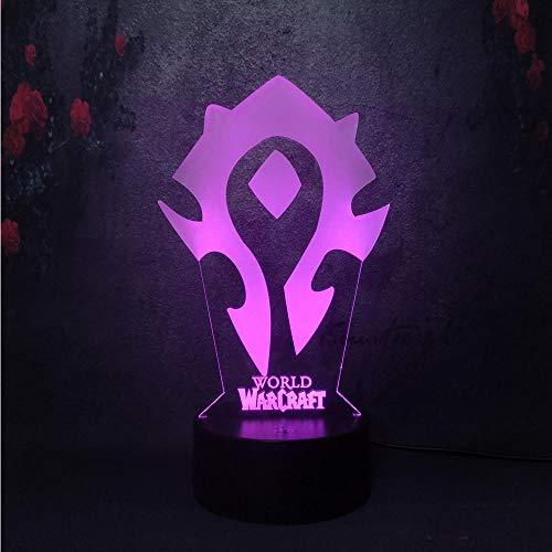 Lámpara De Ilusión 3D Luz De Noche Led Novedad Wow World Of Warcraft Juego Señalización Logo Light 7 Color Flash Visual Changing Usb Lámpara De Mesa