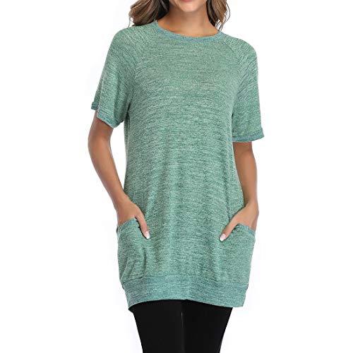 Camisa de Cuello Redondo para Mujer Camiseta de Manga Corta Blusa de algodón Tops Camisa Larga Larga para Mujer Cuello Redondo Bloque de Color Top de Bolsillo Suéter Corta Verano básico Casual