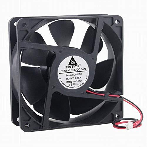 GDSTIME Dual Ball Bearings 1238 Cooling Fan, 120mm x 38mm 24V DC 125CFM Brushless Cooler Fan