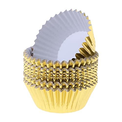 DUO ER 100pcs Cupcake Paper Taza de Aluminio Papel de Aluminio Muffin Tazas de Hornear Tazas Magdalenas Caja (Color : Gold)