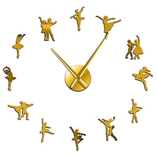 hufeng Reloj de Pared Bailarina Arte de Pared DIY Reloj de Pared Agujas sin Marco Bailarina de Ballet Reloj de Pared Bailarinas Oro 37 Pulgadas