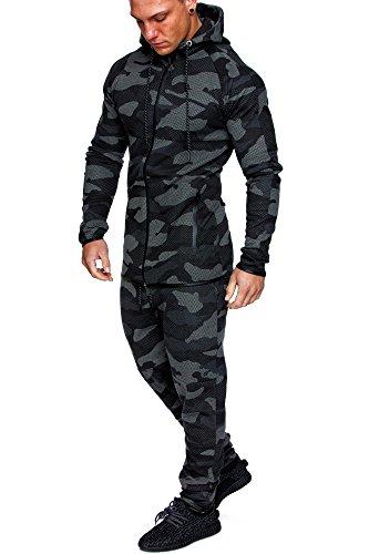 Amaci&Sons Camouflage Herren Sportanzug Jogginganzug Trainingsanzug Sporthose+Hoodie 1007 Camo Schwarz M