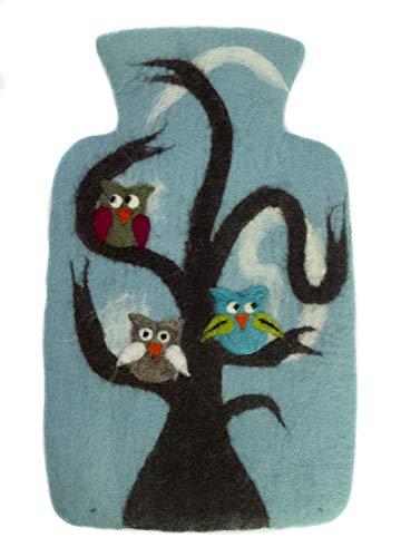 feelz - Wärmflasche Eule hellblau Filz Filzbezug Wolle (Merinowolle) Wärmflaschenbezug Handarbeit - Fairtrade