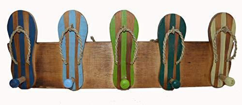 Hand Carved Colorful FLIP FLOP beach Hanger Holder Surfboard Wooden Wall Hanging Art Sign Tiki Bar