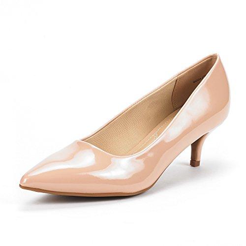 DREAM PAIRS Moda Zapatos de Tacón Bajo Pump para Mujer Desnudo Charol 40.5 EU/9.5 US