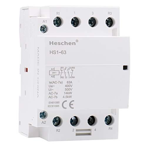 Heschen Contactor de CA doméstico HS1-63 Ie 63A 4 polos 2NO 2NC 24V Voltaje de bobina 35mm Montaje en carril DIN