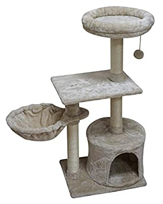 FISH&NAP US08M Cat Tree Cat Tower Cat Condo Sisal Scratching Posts with Jump Platform Cat Furniture Activity Center Play House Beige