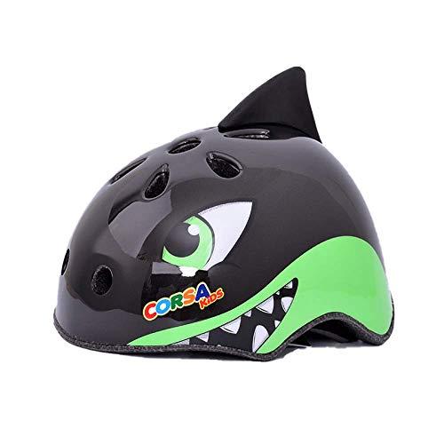 CURVEASSIST Cascos De Protección Infantil para Bicicletas Cascos para Montar Cascos Deportivos Dibujos Animados De Animales Patinaje sobre Ruedas Equipo De Protección Tiburón Negro,Black-M