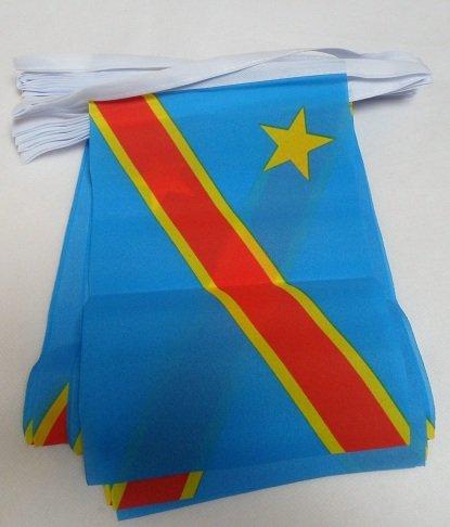 AZ FLAG FAHNENKETTE DEMOKRATISCHE Republik des Kongo 6 Meter mit 20 flaggen 21x14cm - KONGOLESISCHE Girlande Flaggenkette 14 x 21 cm