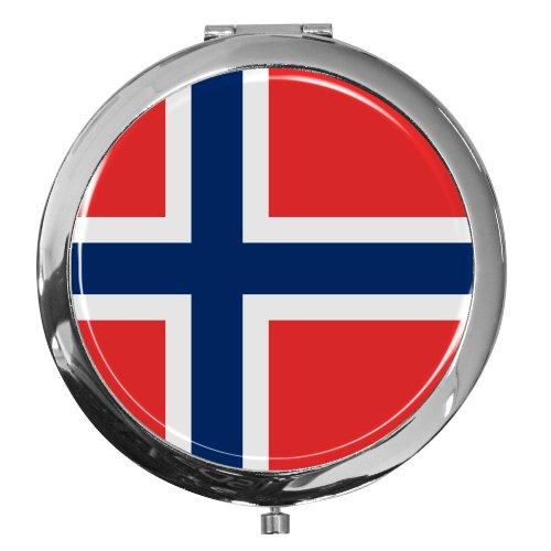 metALUm Premium - Miroir de Poche en métal chromé Drapeau Norvège avec Une Couche Noble de résine sythétique - Un pour Les Fans de Norvège