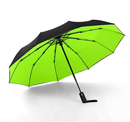 Paraguas Automático A Prueba De Viento De Doble Capa 10 Hueso Macho Y Hembra Paraguas Tres Veces Comercial Gran Paraguas Claro 59 * 10K Verde